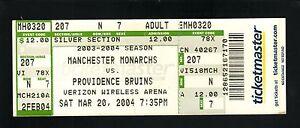 Manchester Monarchs--2004 Ticket vs Providence Bruins--AHL--Kings Affiliate