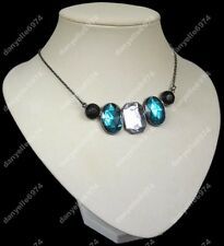 AQUA, CLEAR black chain FACETED JEWELLED 80s NECKLACE