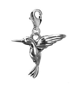Solid Sterling Silver 925 Hummingbird Clip On Charm For  Charms Bracelets A6C