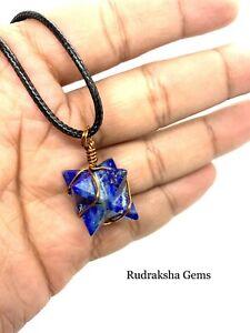 Lapis Lazuli MERKABA STAR COPPER WIRE Necklace Pendant Reiki Healing Crystal a++