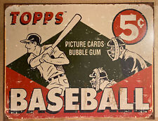"""More details for vintage replica metal sign topps baseball 5c""""picture cards"""" 40x31cm #1643"""
