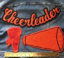 Chenille Patch Cheerleader Lot Orange Black Vintage Letterman Sew On Embroidered