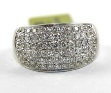 Round Diamond Cluster Pave Dome Ring Band 14k White Gold 1.50Ct