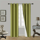 """2PC HEAVY THICK SOLID GROMMET PANEL WINDOW CURTAIN DRAPES BLACKOUT FLOCKING K34 <br/> AVAILABLE SIZE : 63"""" 84"""" 95"""" 108""""   WIDE 35""""-37"""""""