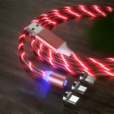 3 in1 (3.3ft) USB Charger Cable Red LED Flowing Magnetic.