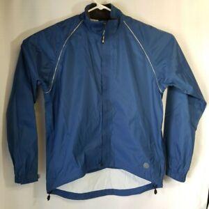 Novara Mens Cycling Long Sleeve Full Zip Rain Coat Top Blue Size Large, RN 37249