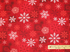 Holiday Magic Red Snowflake Christmas Henry Glass Fabric 33by the 1/2 Yard #9803