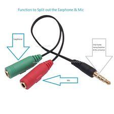 3.5mm Male to 2 Dual Female Plug Jack Audio Stereo Headset Mic Splitter 2pcs