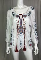 NWT Kyla Seo Caite Women's White Embroidered Boho Tunic Top Aztec Cotton Voile S