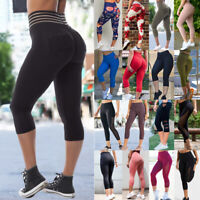Women's High Waist Yoga Pants Capri Leggings Push Up Fitness Sports Plus Size O2