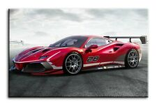 SUPERCOOL RED MOTOR RACING CARS CANVAS PICTURES #174 SPORTS CAR CANVASES FRAMED