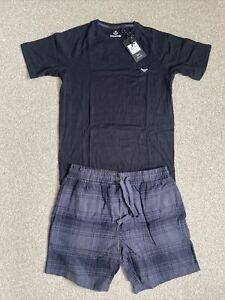 Mens Threadbare Black Pyjama PJ Set Size Small