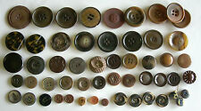 Vintage Fancy Buttons, Brown, Tan, 9.5mm-33mm - 54 ALL SORTS - Art Deco to 1960s