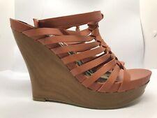NEW JESSICA SIMPSON GWENNY US 8 Brown Strappy Platform Wedge Sandals C1