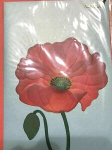 Beautiful Papyrus Blank Card - 3D Red Poppy Flower wth Glitter Center MSRP $8.50