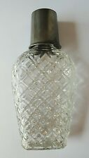 Vintage Glass Hip Flask Pewter Top Cup Measure French Depose Brevetes Whiskey