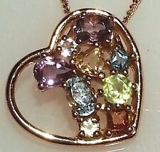 Multi Gem Heart Pendant*Peridot*9ct Gold Plated 925 Sterling Silver*Brand New
