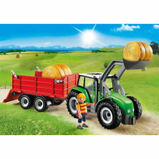 PLAYMOBIL Large Tractor with Trailer, Frontloader and Bales, Country 6130