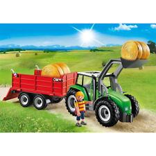 Playmobil Grand tracteur avec remorque, Chargeur Frontal et balles, Country 6130