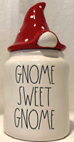"""New RAE DUNN  """"GNOME SWEET GNOME """" White Canister With Red Topper"""