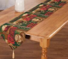 """Extra Long Tapestry Table Runner, 13"""" x 72"""", COFFEE TYPES"""