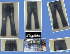 """*Premiere Rue 21* Wmn's """"3/4R"""" Low Distress Destroyed 'Bling' Boot Cut Jeans"""