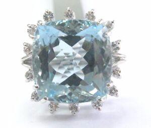Cushion Aquamarine & Diamond Ring Solid 14Kt White Gold BIG CENTER F/VS 14.42Ct