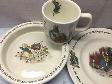 New ListingChild's Wedgewood England Beatrix Potter Peter Rabbit Plate Bowl Cup 3 Piece Set