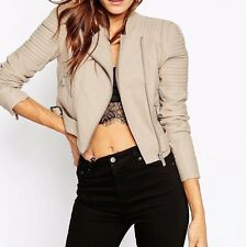 Branded Leather Look Cropped Biker Jacket with Buckle Detail UK 10/EU 38/US 6