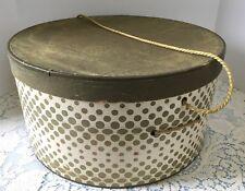 Vintage 1950s Gold Polka Dots & Cream Round Cardboard Dress Hat Box