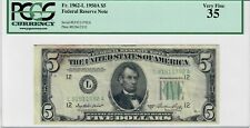 1950A $5 Five Dollar Federal Reserve Note Bill Fr.1962-L PCGS VF35 Very Fine US