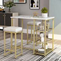 Bar Table Set Dining Breakfast Table Faux Marble Countertop And Stools Storage