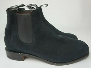 RM Williams Men's Blue Suede Classic Chelsea Boots Size 12 G/ 13 US