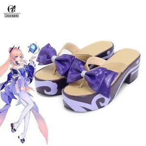 Genshin Impact Kokomi Cosplay Shoes Purple Clogs Slippers Halloween Shoes Heels
