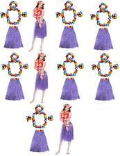 2 X Sets Hawaiian Lei Hula Grass Skirt 4 Piece Flower Garlands Fancy Dress Hw19