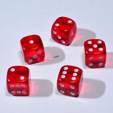 50 Stück 12mm Transparent Rot Knobel Würfel / Augen Würfel Frobis Spielwürfel