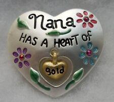 New Silver tone NANA has a Heart of Gold GRANDMOTHER Rhinestone Brooch Pin
