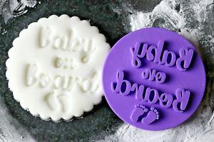 Baby on board cookie embosser,  baby shower cookie embosser stamp,