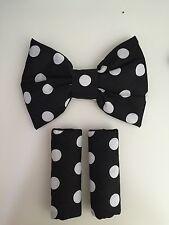 Rembourré harnais sangle couvre/rembourré nœud pour poussette ou siège noir point blanc