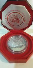 2 oz Singapore 1998 Lunar Chinese Tiger Zodiac 999 Silver Coin with  COA Box