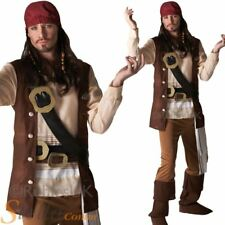Mens Jack Sparrow Costume Pirates Of The Caribbean Adult Fancy Dress Outfit