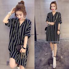 Korean Women V Neck Striped Loose Slim Tunic Casual Summer Shirt Dress Black 3XL
