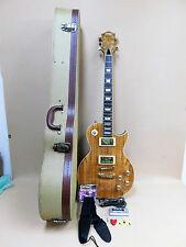 Haze SEG-227 Les Paul Custom Guitar Spalt Maple-Mahogany + HARD TWEED Case Etc.