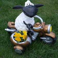Schaf Molly auf Motorrad ,zum Bepflanzen, Tierfigur Deko Garten Terrasse Lamm
