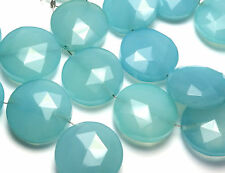 6 pcs PERUVIAN BLUE CHALCEDONY Aqua 15mm Faceted Coin Beads /s3