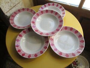 Vintage 5 assiettes creuses faïence ancienne de Badonviller décor géométrique