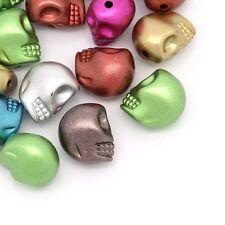 Lot 10 Perle Tete de Mort Brillante 13mm x 11mm Couleur mixte Tete Squelette