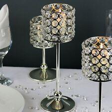 2 X Cristal plata plateado Té Luz Vela titular 30cm Bodas Casa Decoración