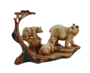 Zeckos Mother Bear and Cubs Carved Wood Look Resin Statue