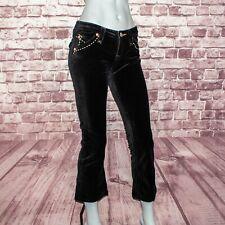 ROCK REVIVAL Women's Crop velour Jeans Black Fits Size 25